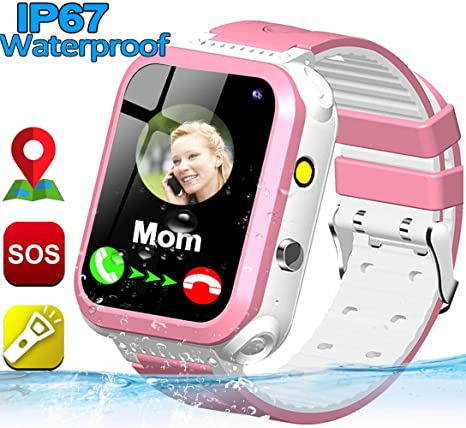 Smart Watch for Kids IP67 Waterproof Phone Watch GPS Tracker Boys Girls Smart Watches with Two Way Call Sim Card Slot Camera Flashlight SOS Alarm ...
