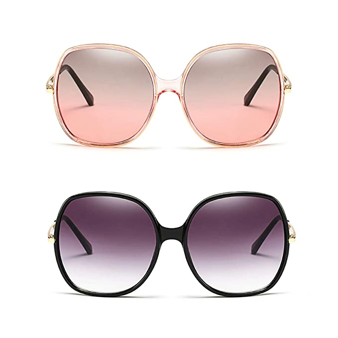 fd6378b0bee9 70s Super Oversize Square Sunglasses for Women Vintage Rectangular Plastic  Frame (Black+Pink,