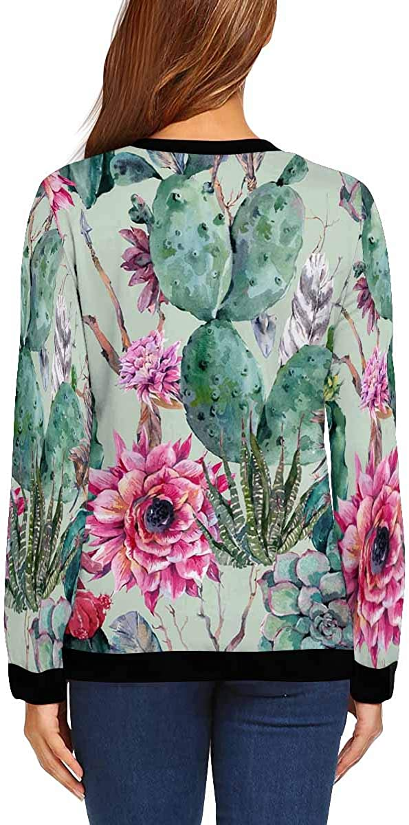 INTERESTPRINT Womens Crew Neck Long Sleeve Pullover Vintage Boho Cactus Casual Sweatshirt Tops XS-XL