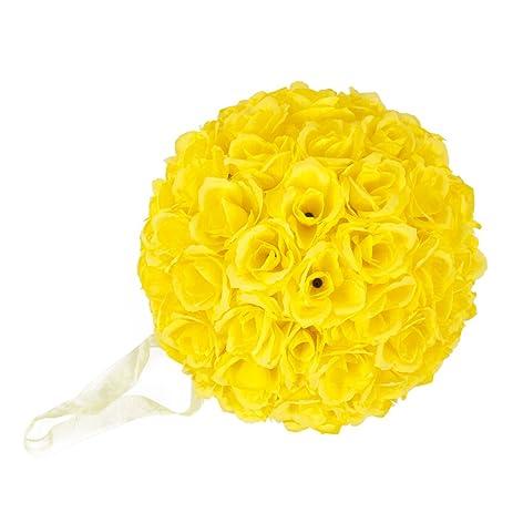 Amazon elegant 10 inch satin flower ball for wedding party elegant 10 inch satin flower ball for wedding party ceremony decoration yellow mightylinksfo