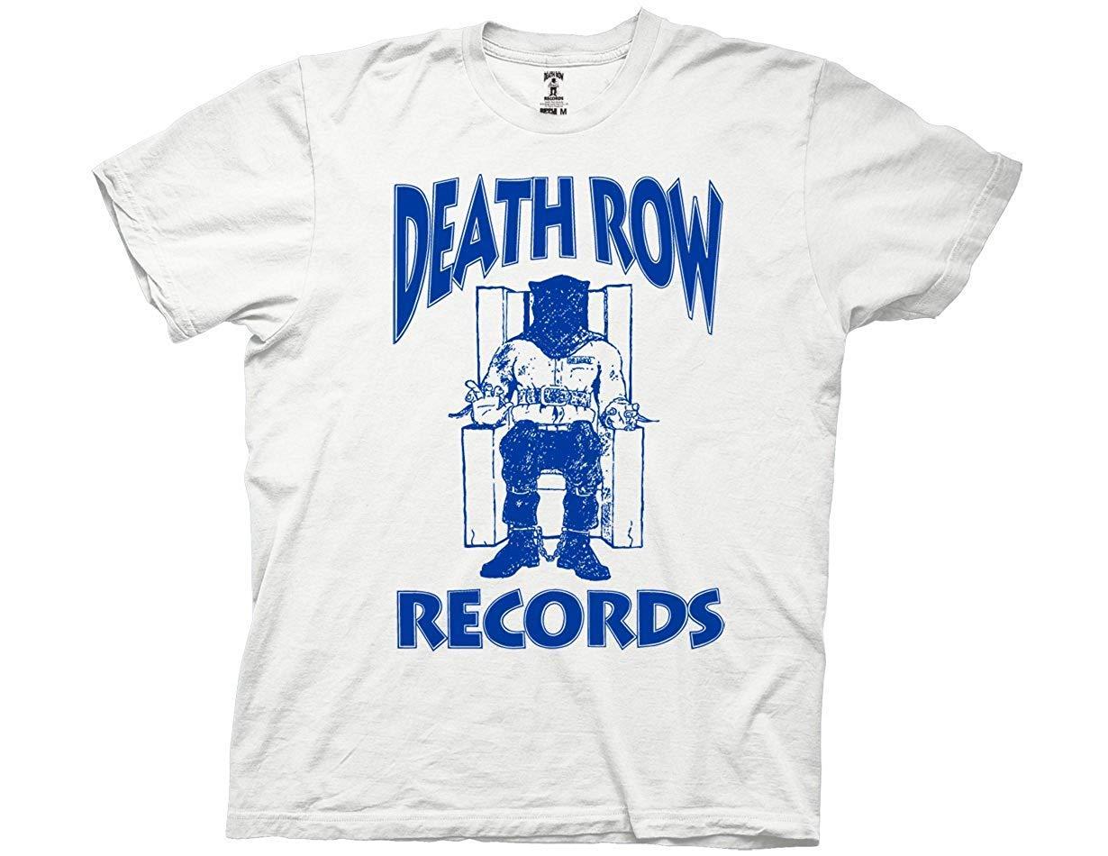 Death Row Records Adult Unisex Blue Logo Light Weight 100 Crew Tshirt3x
