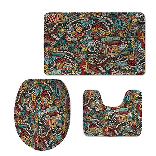 Fashion 3D Baseball Printed,Doodle,Cinema Items Combined in an Abstract Style Popcorn Movie Reel The End Theatre Masks Decorative,Multicolor,U-Shaped Toilet Mat+Area Rug+Toilet Lid Covers 3PCS/Set by iPrint