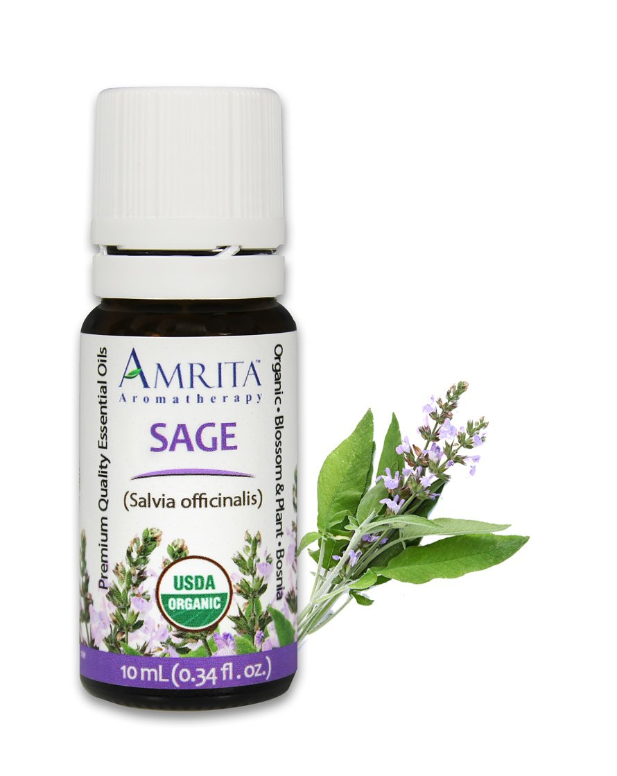 Amrita Aromatherapy Organic Sage Essential Oil, 100% Pure Undiluted Salvia officinalis, Therapeutic Grade, Premium Quality Aromatherapy oil, Tested & Verified, 10ML by AMRITA Aromatherapy