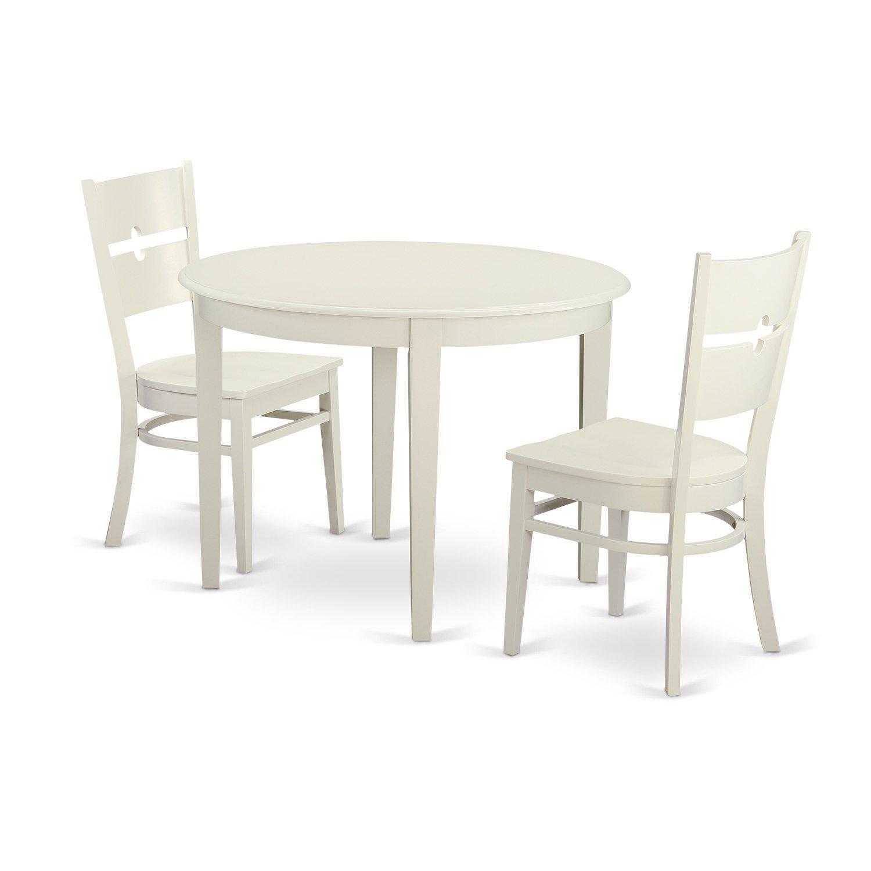 Amazon.com: East West Furniture BORO3-WHI-W 3 Piece Dining ...