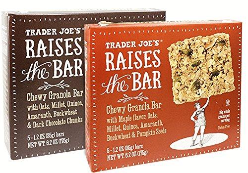 Trader Joe's Raises the Bar Gluten Free Chewy Granola Bars Variety Bundle: 2 Boxes - 1 Maple, 1 Dark Chocolate Chunk