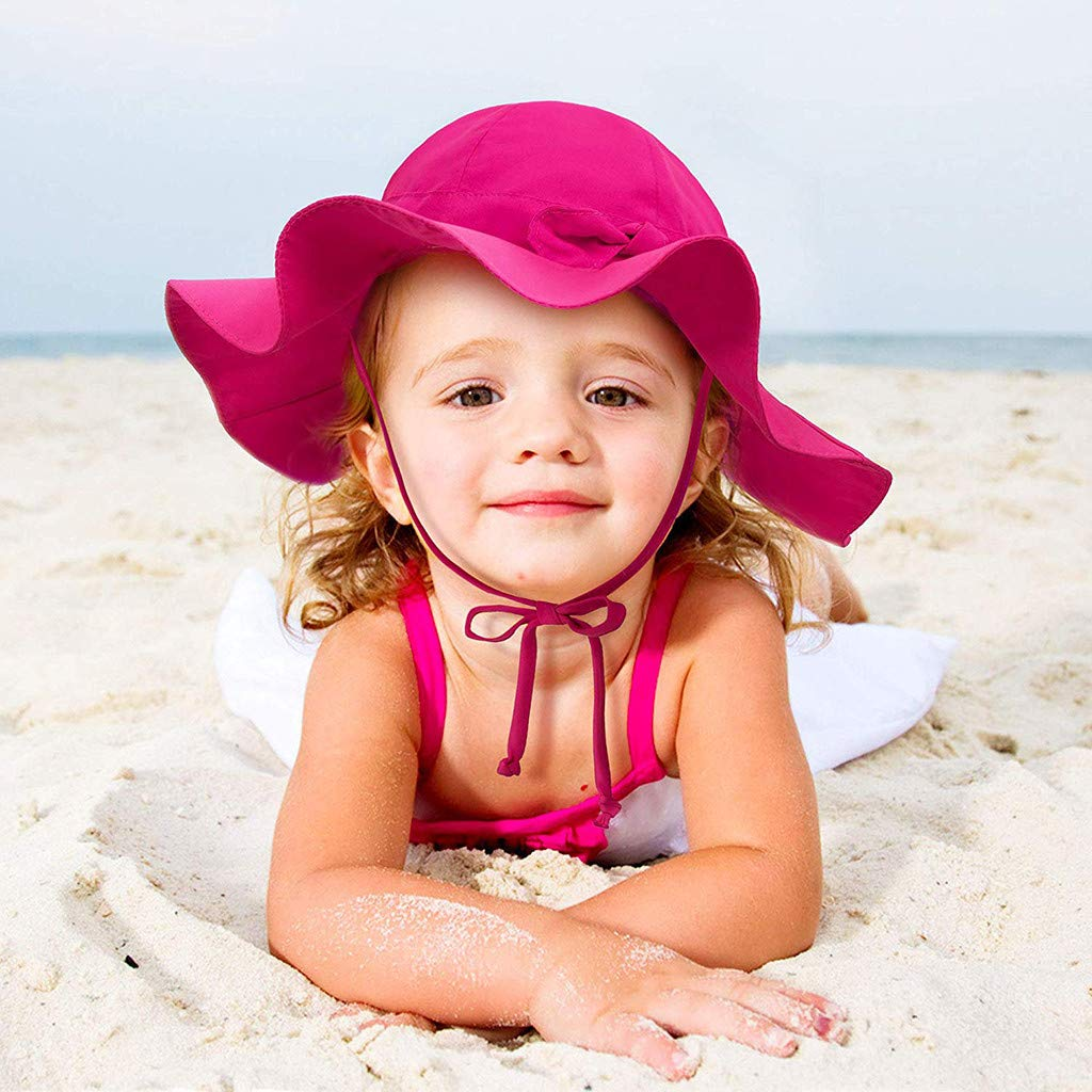 Riverdalin Toddler Kids Baby Girl Breathable Sun Hat Cotton Foldable Sun Protective Bucket Cap Cotton Fishmen Hat