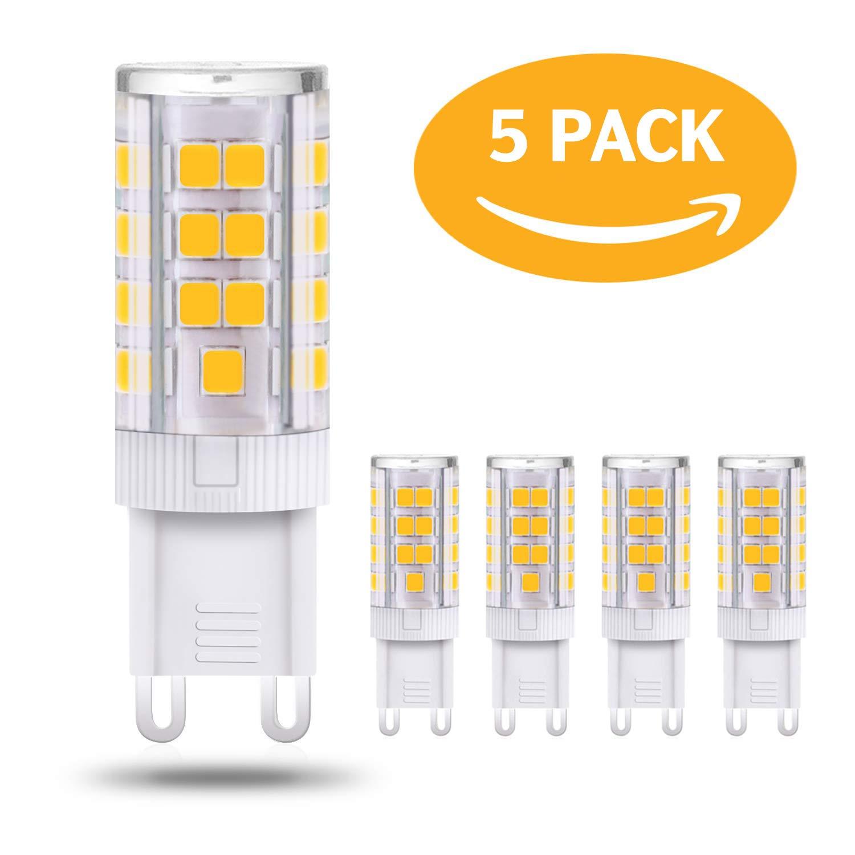 4W G9 Dimmable LED Bulb Warm White 3000K Replace 28W 33W 40W Halogen G9 Bulbs No Strobe, Flicker Free (5Pack)