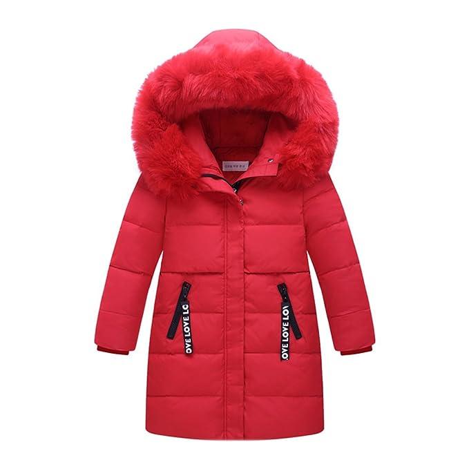 M&A Niñas Plumas Acolchado Abrigo Invierno Mediano Largo Con Capucha Pelo Suelto Sintético Cálido Respirable Nieve
