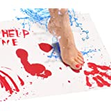 Bloody Bath Mat – Color Changing Mat Really Turns Red When Wet, Dries White – Horror Gifts for Her – Includes (2) Large Floor