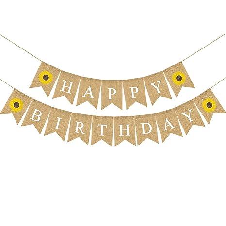 Rainlemon Jute Burlap Happy Birthday Banner With Sunflower Birthday Party Bunting Garland Decoration