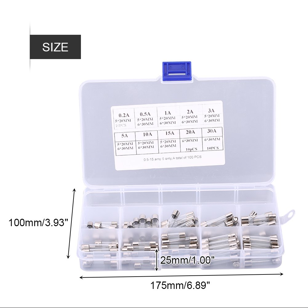 sourcingmap/® 10pcs 250V 3,15A R/ápido fusibles de vidrio soplado Tubos 5mm x 20mm