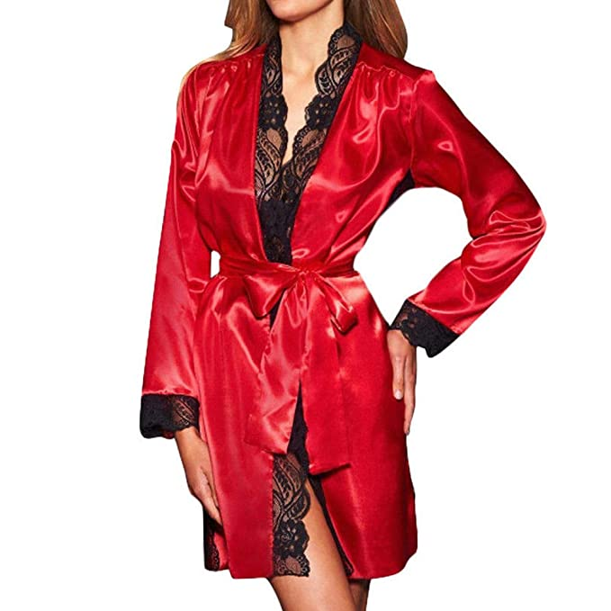 Longra ☀☀ ☀☀❤ ❤️Bata Larga de Seda de la muñeca del Kimono de la Bata Sexy de Las Mujeres: Amazon.es: Ropa y accesorios