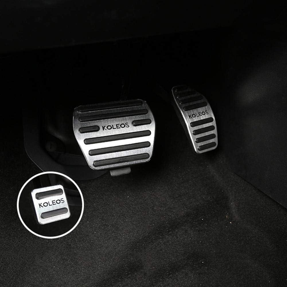 NUIOsdz AT Aluminum alloy Car Accelerator Gas Brake Pedals Cover Non Slip Pad,For Renault Kadjar Koleos 2016 2017 2018 Accessories
