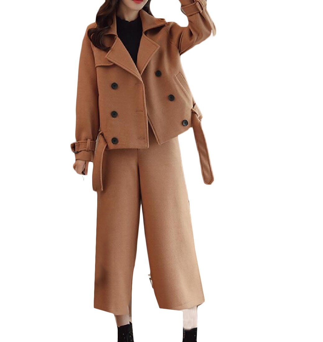 Tootless-Women Pure Color Vogue Palazzo Pants Short Relaxed Fit Set Pea Coat Light tan XS