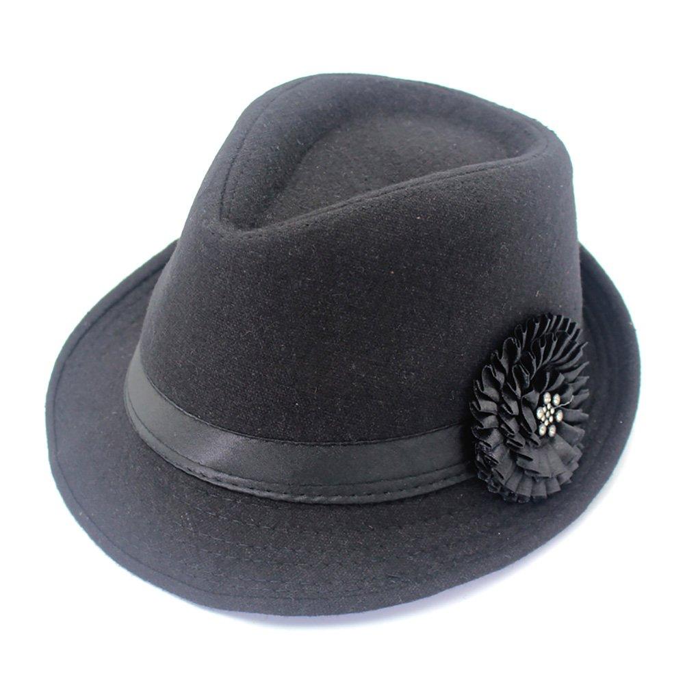 YOYEAH Women Vintage Top Hat Party Cap Trilby Classic Flower Elegant Panama Hat Retro Warm Bowler Hat Black