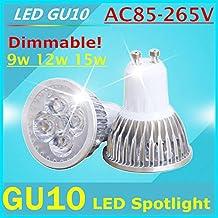 1pcs Super Bright 9W 12W 15W GU10 LED Bulbs Light 110V 220V Dimmable Led Spotlights Warm/Cool White GU 10 base LED downlight(Cole White/15w)
