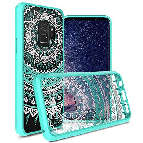 CoverON Galaxy S9 Clear Case, ClearGuard Series Slim Fit Hard Phone Cover with Flexible TPU Bumpers for Samsung Galaxy S9 - Clear with Teal Mandala Design