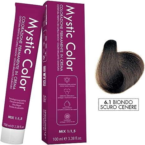 Mystic Color - Coloración Permanente en Crema con Aceite de Argán y Caléndula - Color Natural y Duradero - Tono 6.1 Rubio Ceniza Oscuro - 100 ml