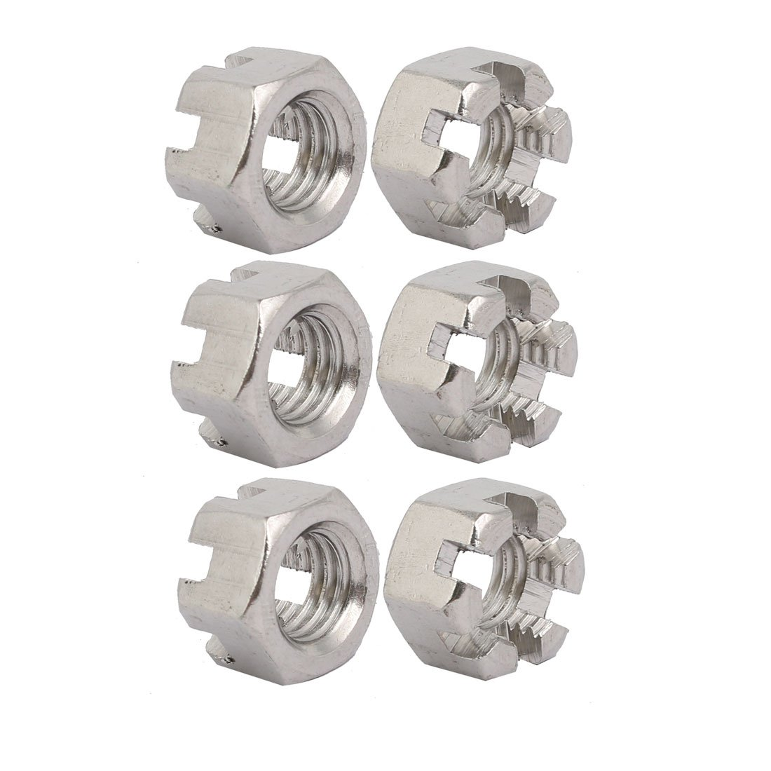 sourcingmap® 6pcs M12x1.75mm 304 Stainless Steel Hexagon Slotted Castle Nut Silver Tone a17101700ux0244