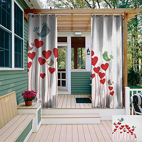 leinuoyi Love, Outdoor Curtain Pole, Bird Sings Sitting Hearts Twitting Springtime Garden Valentines, Fabric by The Yard W96 x L108 Inch Ruby Cadet Blue Green Mauve ()