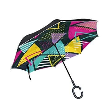 MAILIM Paraguas inverso geométrico Triangular Colorido de Doble Capa Resistente al Viento, Mango C,