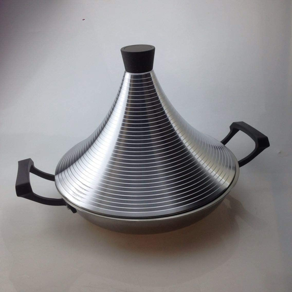 Non Stick Tagine Taji Pot Stainless Steel Tower Stew Dry Pot Seafood High Lid Pan Electromagnetic Cooker Moroccan Tajine Non-stick Slow Cooker 21-304 (Color : 38cm)