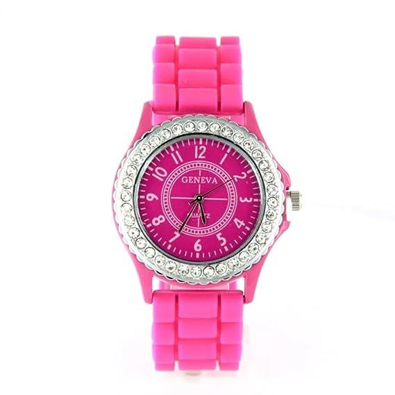 Reloj Geneva silicona color rosa pedrería My-Montre