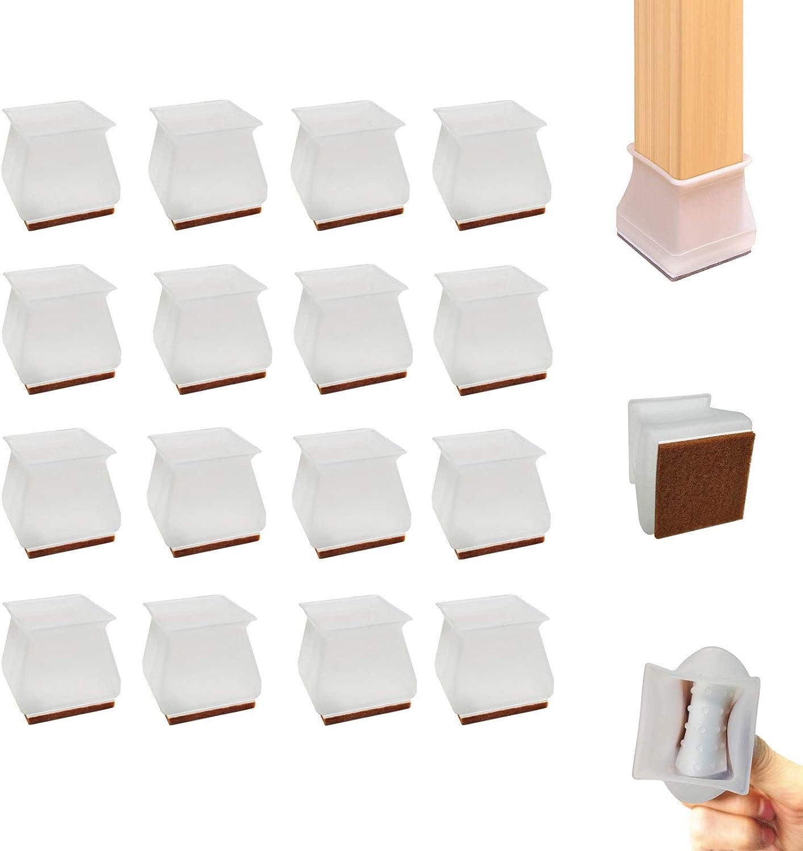 16Pcs Square Chair Leg Protectors for Hardwood Floors, Fit 13/16