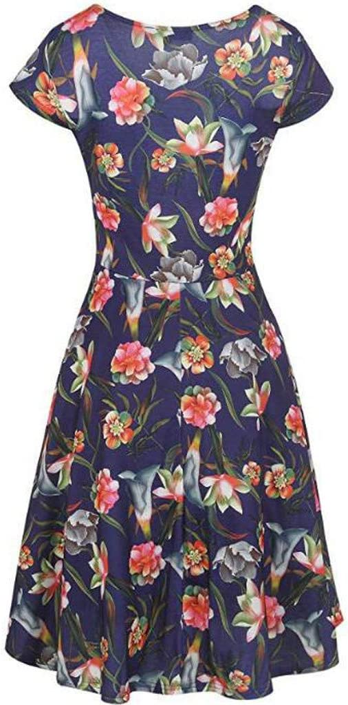 YWLINK damska sukienka Prom Swing z dekoltem w serek kwiatowa sukienka letnia sukienka na imprezę: Odzież