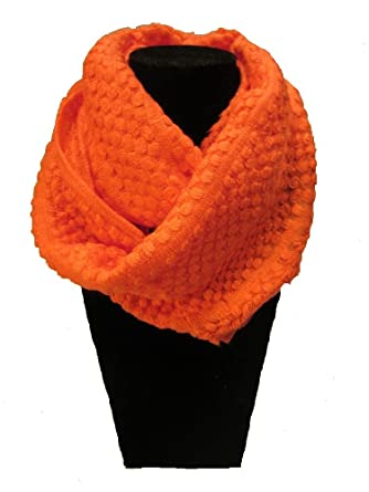 Infinity Scarf Pattern Knit Orange Color At Amazon Womens Clothing