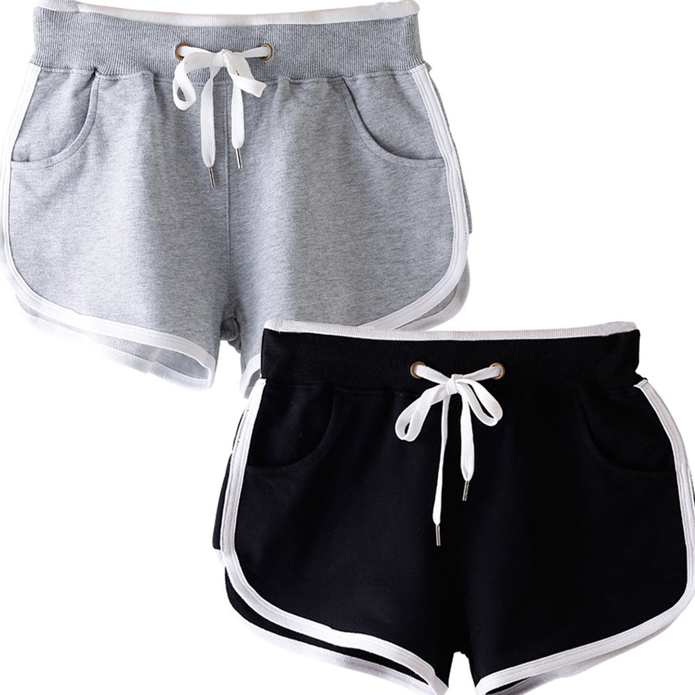 Beauty_yoyo Women Running Shorts Gym Workout Yoga Sport Performance Short (Pack of 2) (S, Black+Grey)