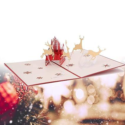 Tarjeta de bendición navideña, tarjeta de Navidad 3D con ...