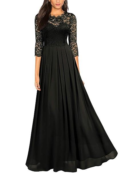 Miusol Womens Lace Chiffon 34 Sleeve Long Evening Dress