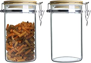 IDEALUX Glass Storage Jar, 2Pack Airtight Food Glass Storage Jar with Stainless Steel Buckle and Bamboo Lid, Food Container for Coffee Bean & Kitchen food,50 OZ (1500ML)