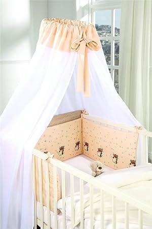 Baby Himmel Nestchen SET 2 tlg Schlafsack 70 cm apricot wei/ß Sterne Teddy schlichte Eleganz Oeko Tex