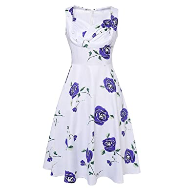Women 1950s Floral Spring Garden Party Picnic Dress Party Cocktail Blue Dress XXL