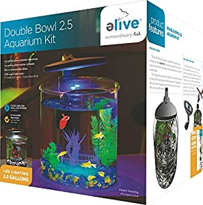 Elive double bowl aquarium kit 2 5 gallon for Amazon fish tank filter