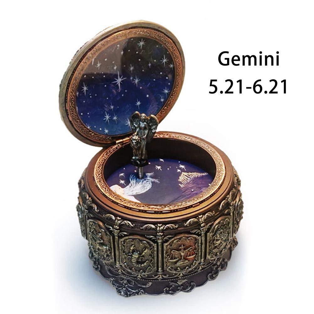 G braunrolly Retro-Spieluhr, bunt, 12 Sternbilder, City of The Sky, aus Harz, geschnitzt, mit Lichtern für Jahrestag oder Geburtstag g