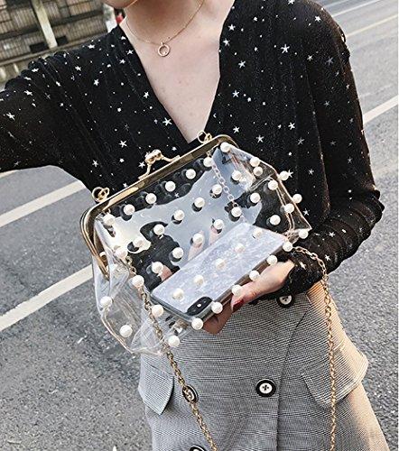 Pearl Clear Purse MILATA Bag Clutch PVC Bag Women's Summer Transparent Hologram Jelly Body Transparent Cross qqwg8