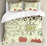 Doodle Duvet Cover Set King Size by Ambesonne, Vintage French Style Doodle Elegance Words Shabby Chic Classic Motif, Decorative 3 Piece Bedding Set with 2 Pillow Shams, Pale Green Chocolate Coral