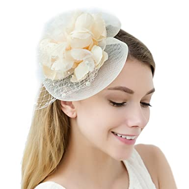 JaosWish Tulle Feather Fascinator Headband Net Flower Hairclip for Cocktail  Party Royal Ascot Wedding Hat Ivory e0cf85147df