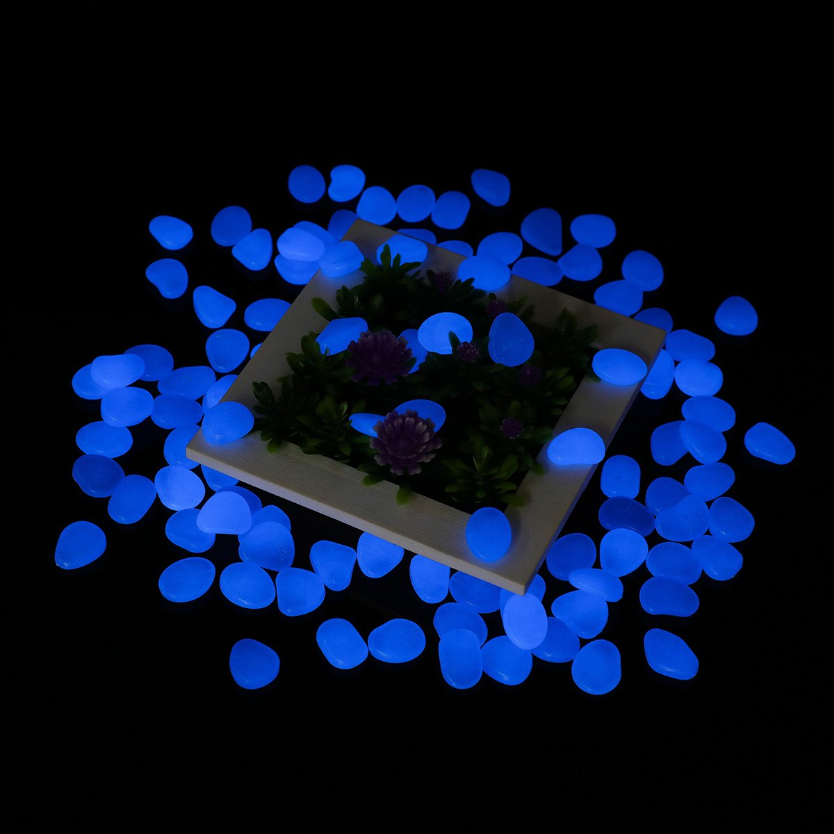300Pcs Glow in the Dark Pebbles Tvird Glow Stones Glow Pebbles for Garden Walkway, Flowerpot, Fish Tank (Blue)
