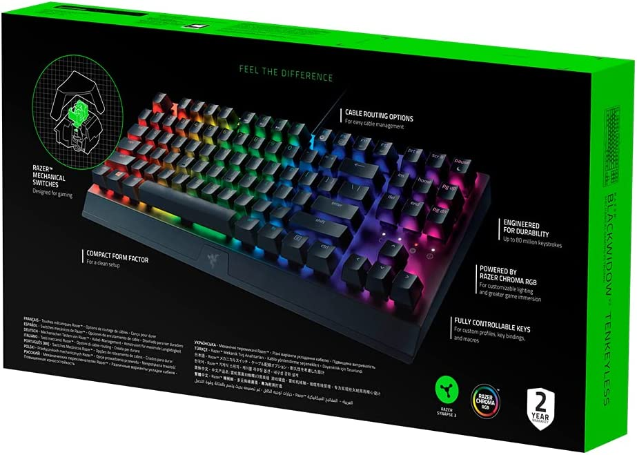 Razer BlackWidow V3 Tenkeyless - Teclado mecánico para juegos (Teclado Gaming Compacto con interruptores mecánicos silenciosos, iluminación cromática ...