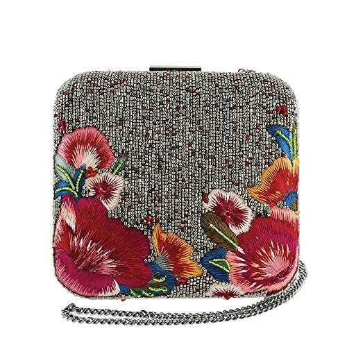 MARY FRANCES Hello Bordeaux Beaded and Embroidered Floral Crossbody Clutch