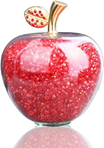 HDCRYSTALGIFTS Crystal Glass Apple Figurine Paperweight with Filling Rhinestones for Home Decor (Red)