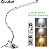 Qooltek LED Desk Lamp Clip on Light Book Reading Lights with 3 Lighting Model 10-Level Dimming for Bed Headboard,Table…