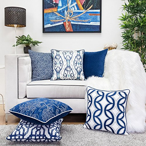 Homey Cozy Embroidery Velvet Throw Pillow Cover,Blue Series Silver Floral Soft Fuzzy Cozy Warm Slik Decorative Square Couch Cushion Pillow Case 20 x 20 Inch, Cover Only