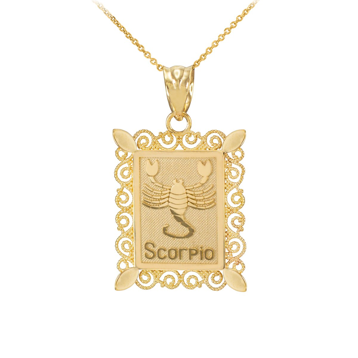 Fine 14k Yellow Gold Filigree-Style Rectangular Frame Scorpio Zodiac Sign Pendant Necklace, 20'' by Astrology Jewelry