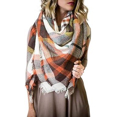 038b895d7dafe Plaid Blanket Scarf for Women Big Square Scarf Warm Tartan Winter Scarf  Shawl Wrap
