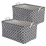 DII Cotton/Polyester Cube Laundry Basket, Perfect in Your Bedroom, Nursey, Dorm, Closet, Assorted Small Set of 3 - Nautical Blue Lattice